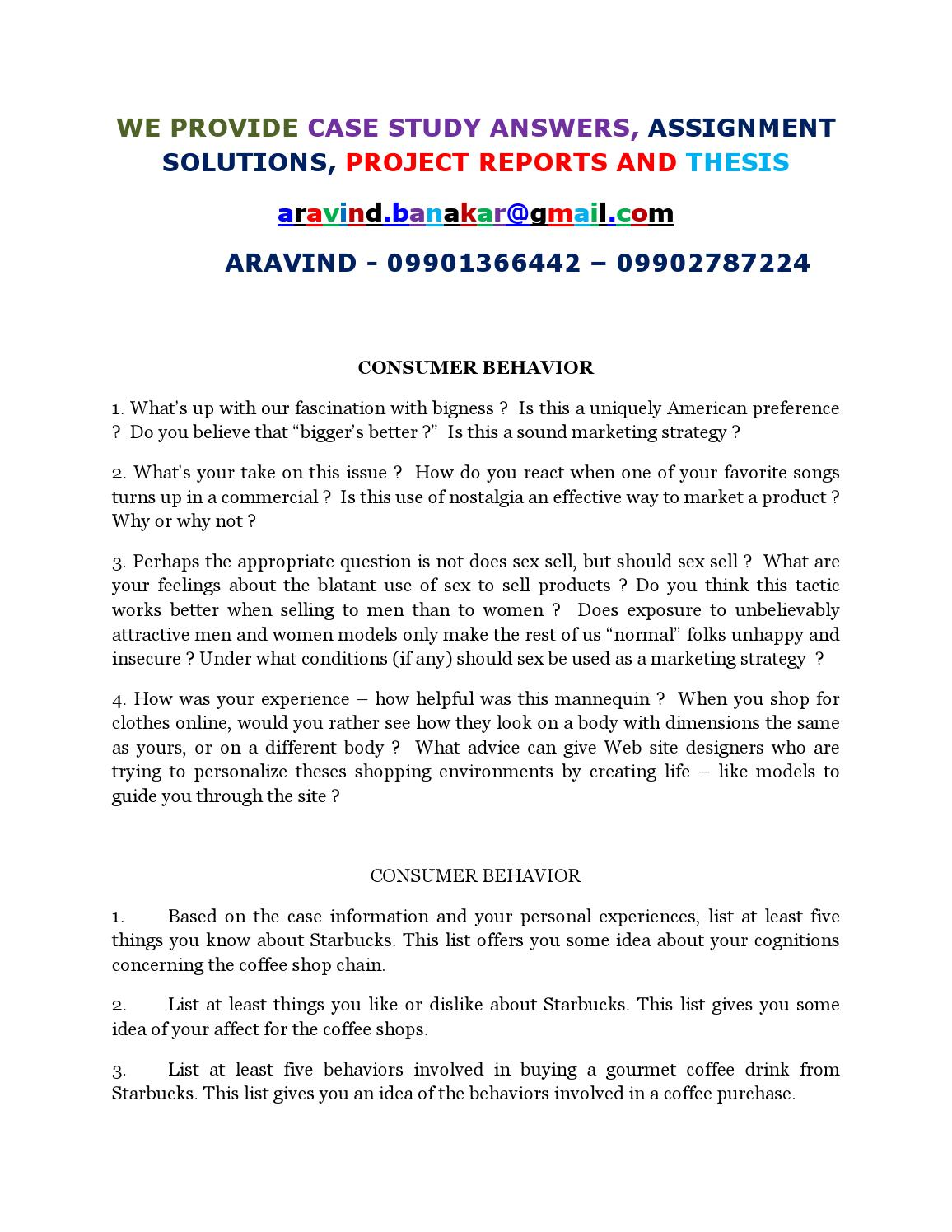 consumer behavior case study with solution