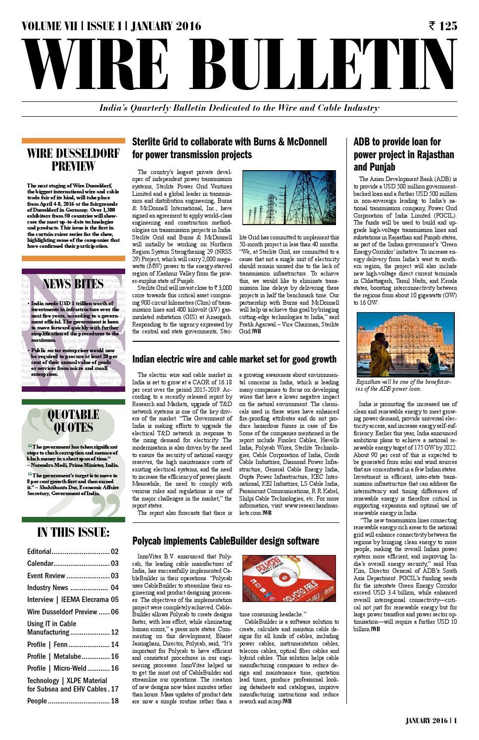 Wire Bulletin - January 2016 by Wire Journal International, Inc. - issuu