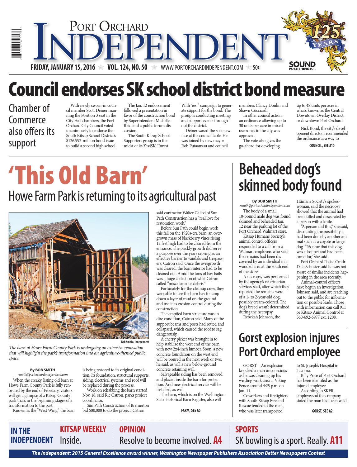 Port Orchard Independent, January 15, 2016 by Sound