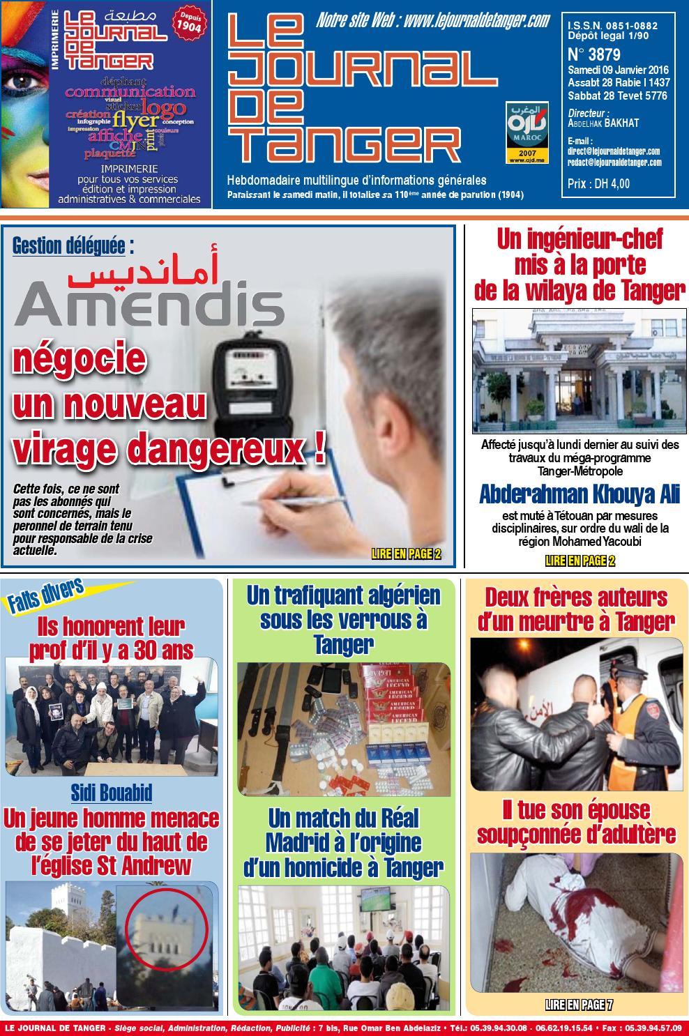 le journal de tanger 09 janvier 2016 by le journal de