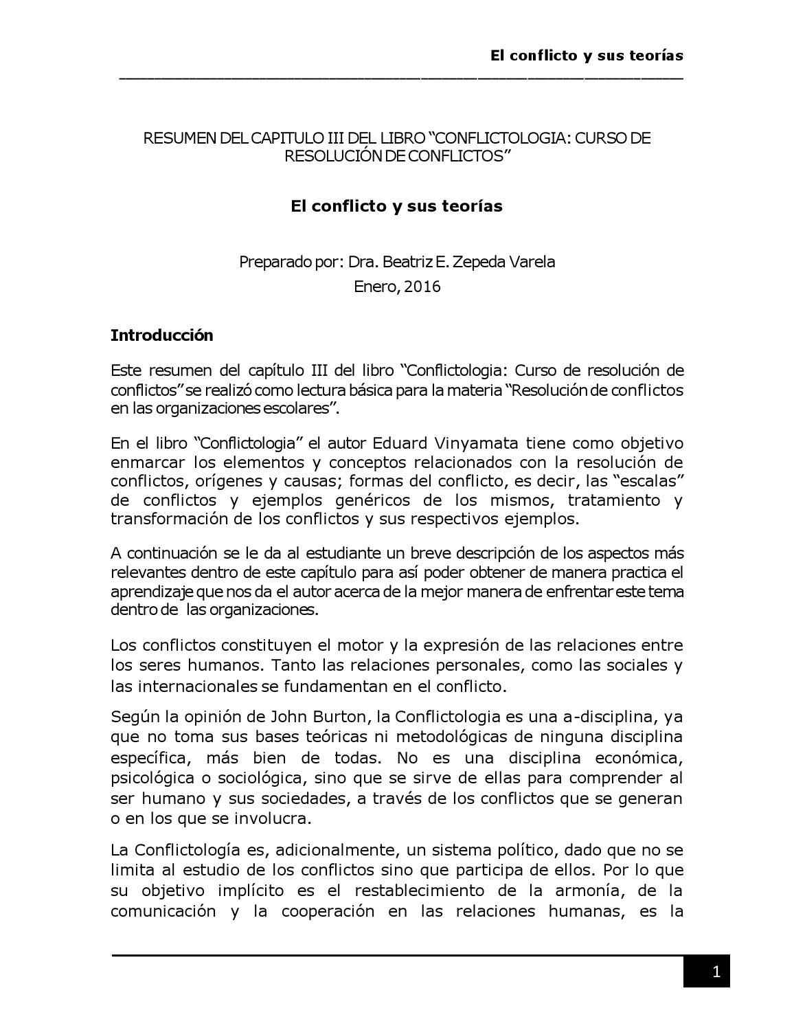 Resumen del capitulo iii del libro conflictologia curso de ...