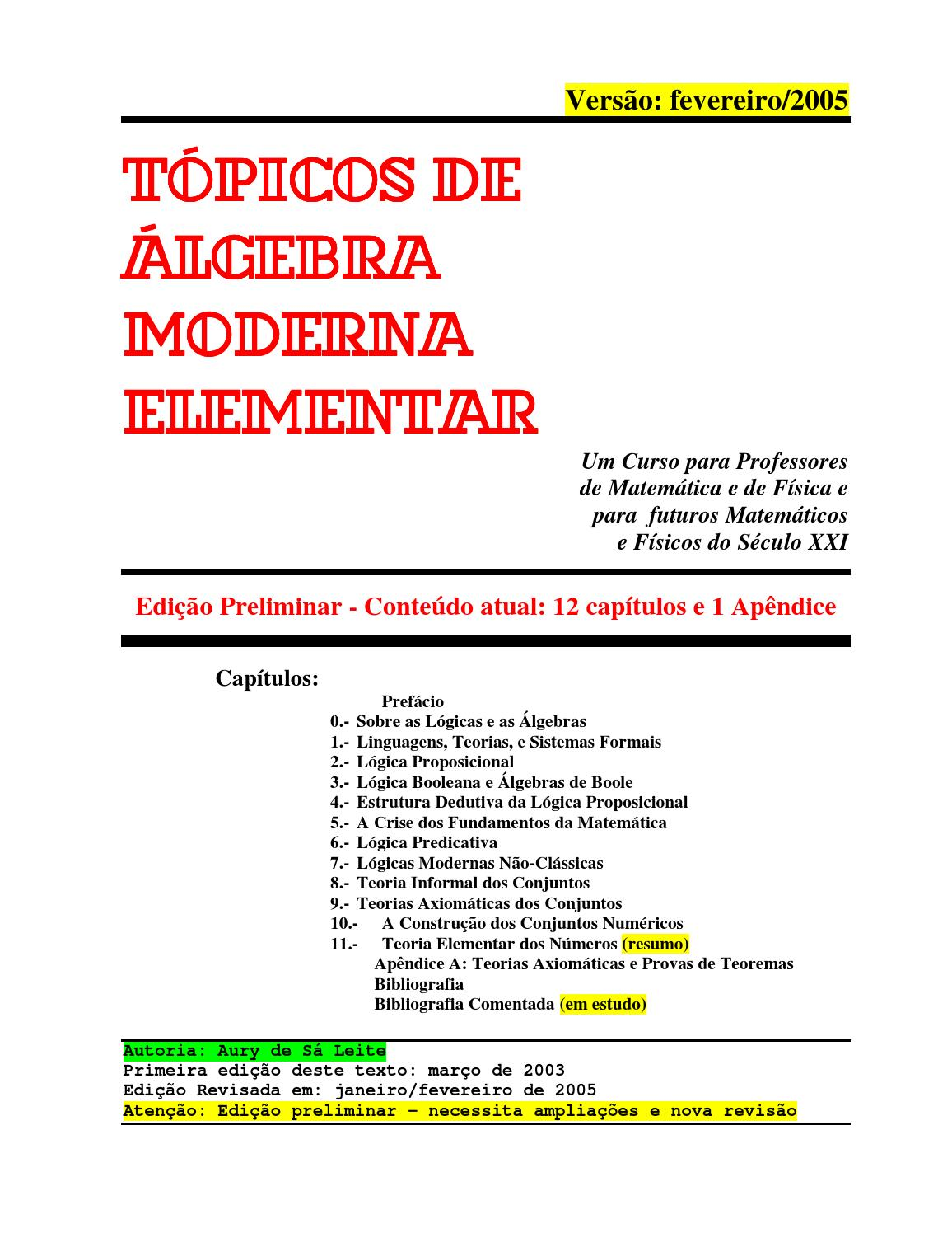 Tpicos de lgebra moderna elementar draft by aury de sa leite issuu fandeluxe Choice Image