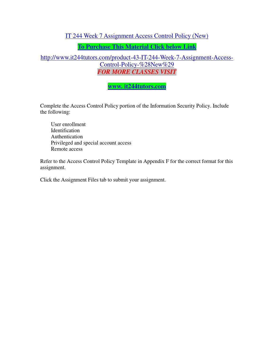It 244 Week 7 Assignment Access Control Policy New By