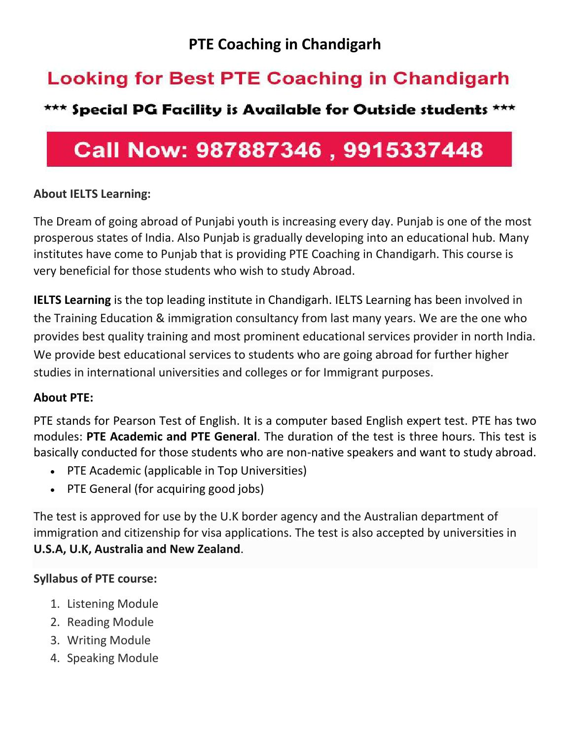 Pte coaching in chandigarh by IELTS Learning - issuu