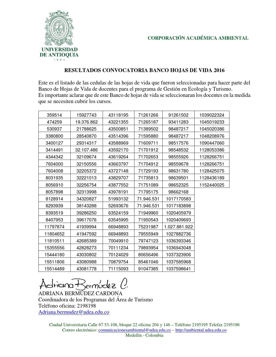 Resultados convocatoria banco de hojas de vida 2016 by ...