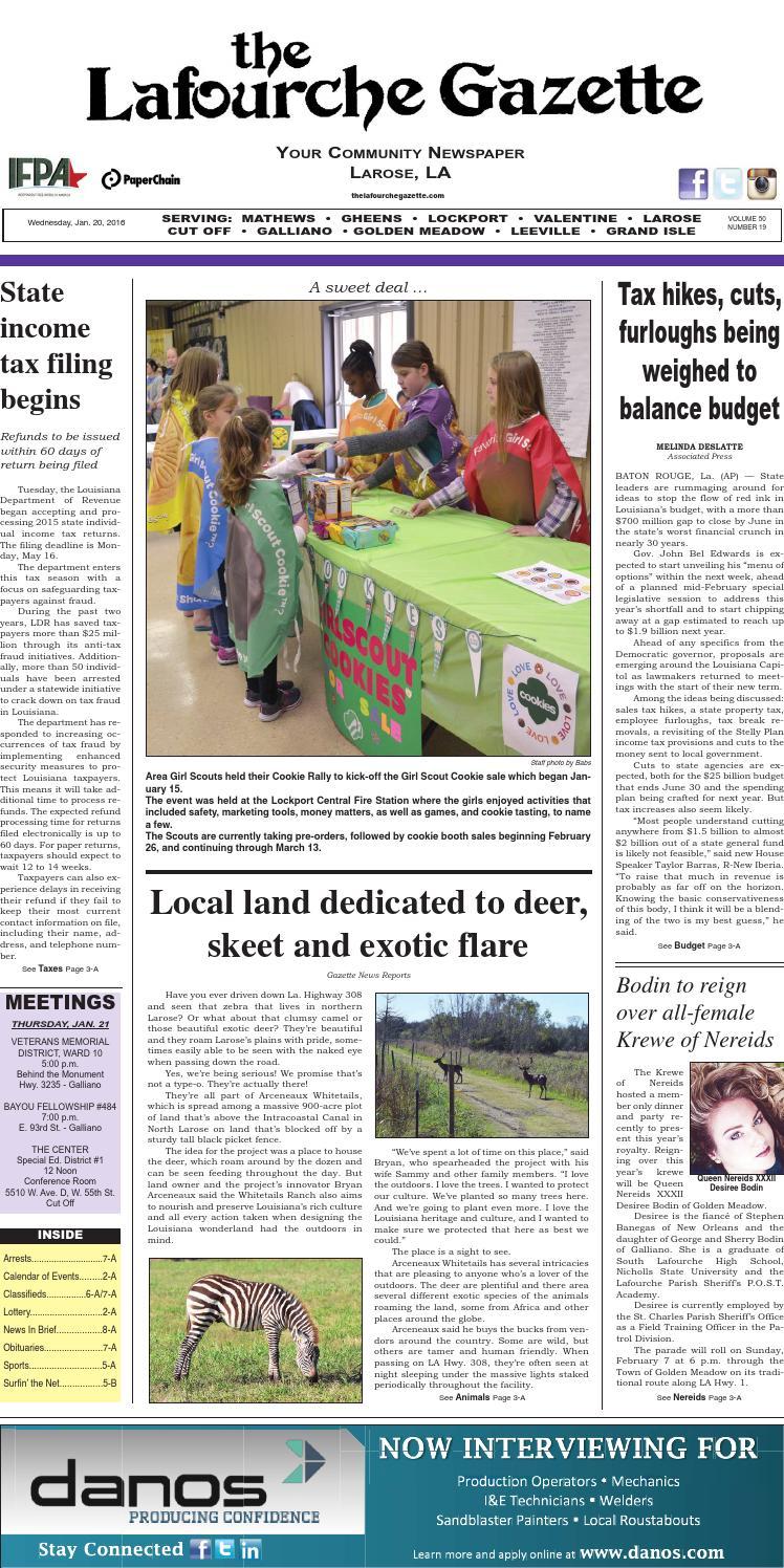 Wednesday, January 20, 2016 The Lafourche Gazette By The Lafourche Gazette    Issuu