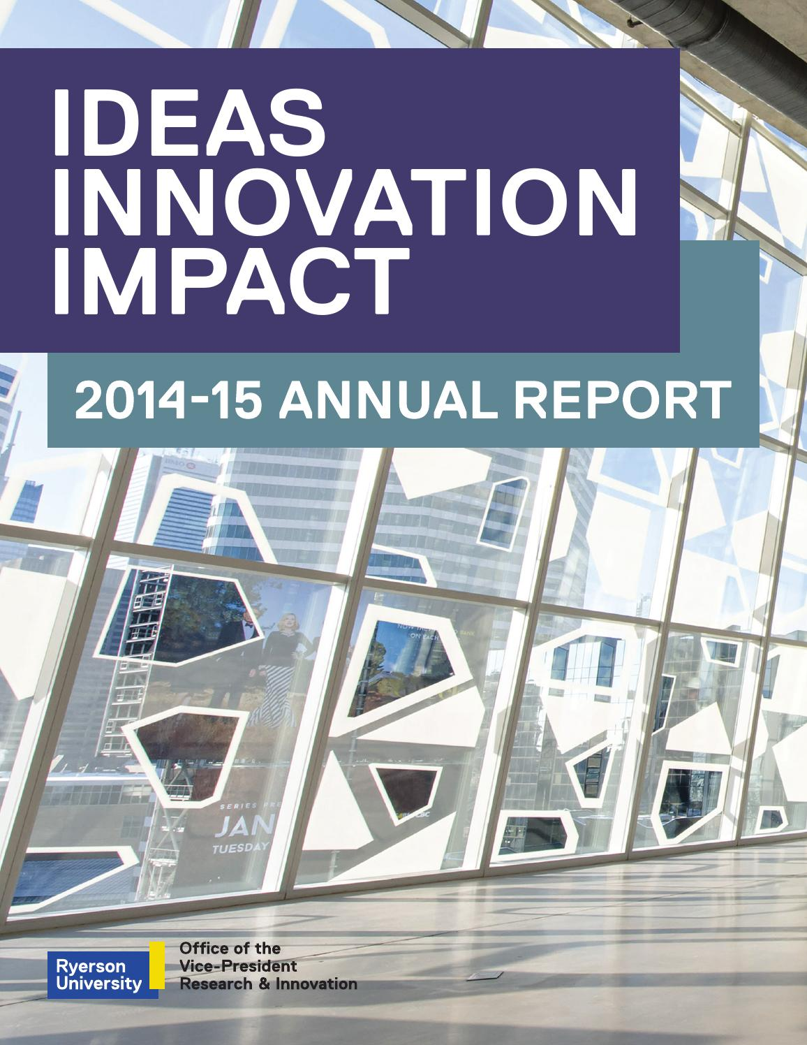 Ryerson Research Innovation 2014 15 Annual Report By Universitys Office Of The Vice President