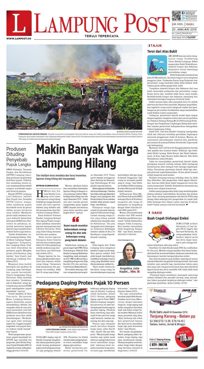 Lampung Post Rabu 20 Januari 2016 By Issuu Keripik Jagung Panggang Pedasmanis Thun Amr