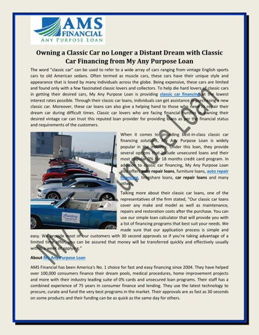 Owning A Classic Car No Longer A Distant Dream With Classic Car - Classic car financing