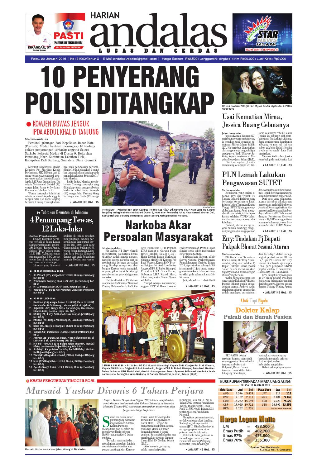 Epaper Andalas Edisi Rabu 20 Januari 2016 By Media Andalas Issuu