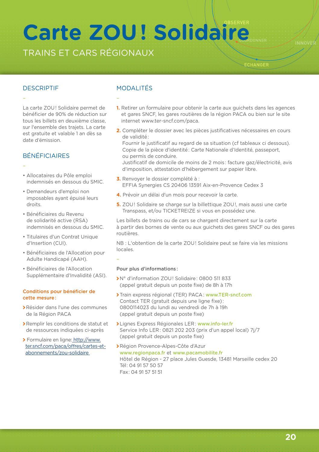 carte zou solidaire formulaire Kit mobilité professionnels by Cité des Métiers de Marseille et de