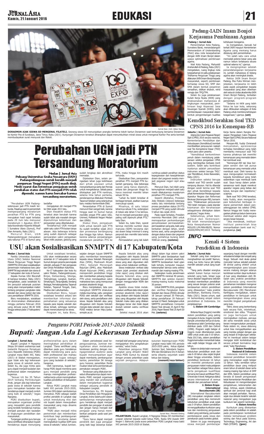 Harian Jurnal Asia Edisi Kamis 21 Januari 2016 By Harian