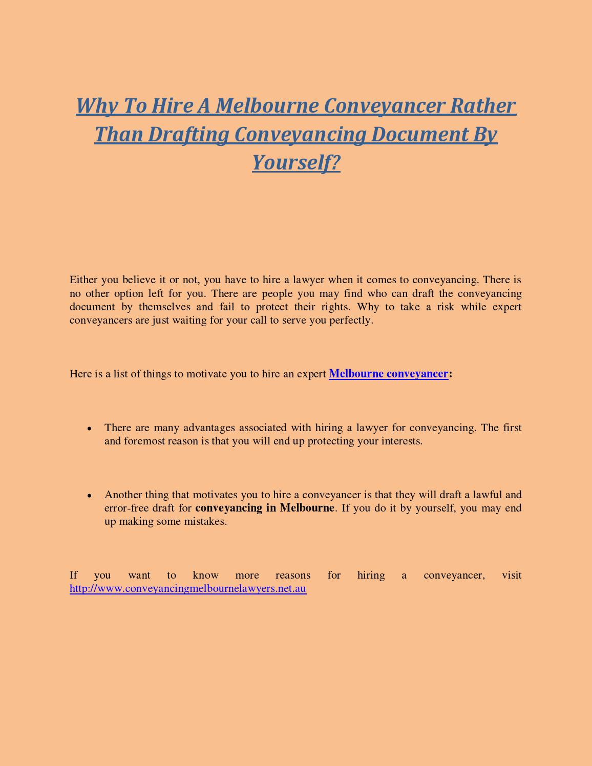 Why to hire a melbourne conveyancer rather than drafting why to hire a melbourne conveyancer rather than drafting conveyancing document by yourself by conveyancing melbourne lawyers issuu solutioingenieria Images