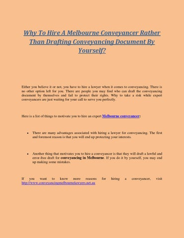 Why to hire a melbourne conveyancer rather than drafting why to hire a melbourne conveyancer rather than drafting conveyancing document by yourself solutioingenieria Image collections
