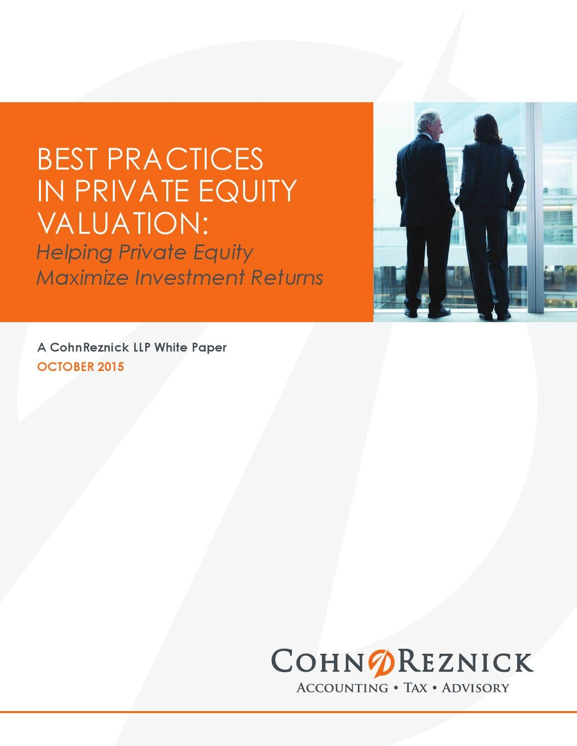 Best Practices In Private Equity Valuation by CohnReznick