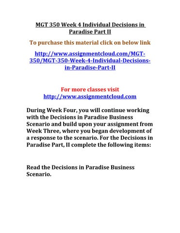 decisions in paradise part ii essay Iii decisions paradise in essays part king henry iv part 2 essay persuasive essay about favorite food world war 2 effects essay.