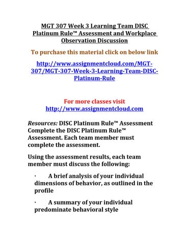 Disc platinum rule assessment and workplace