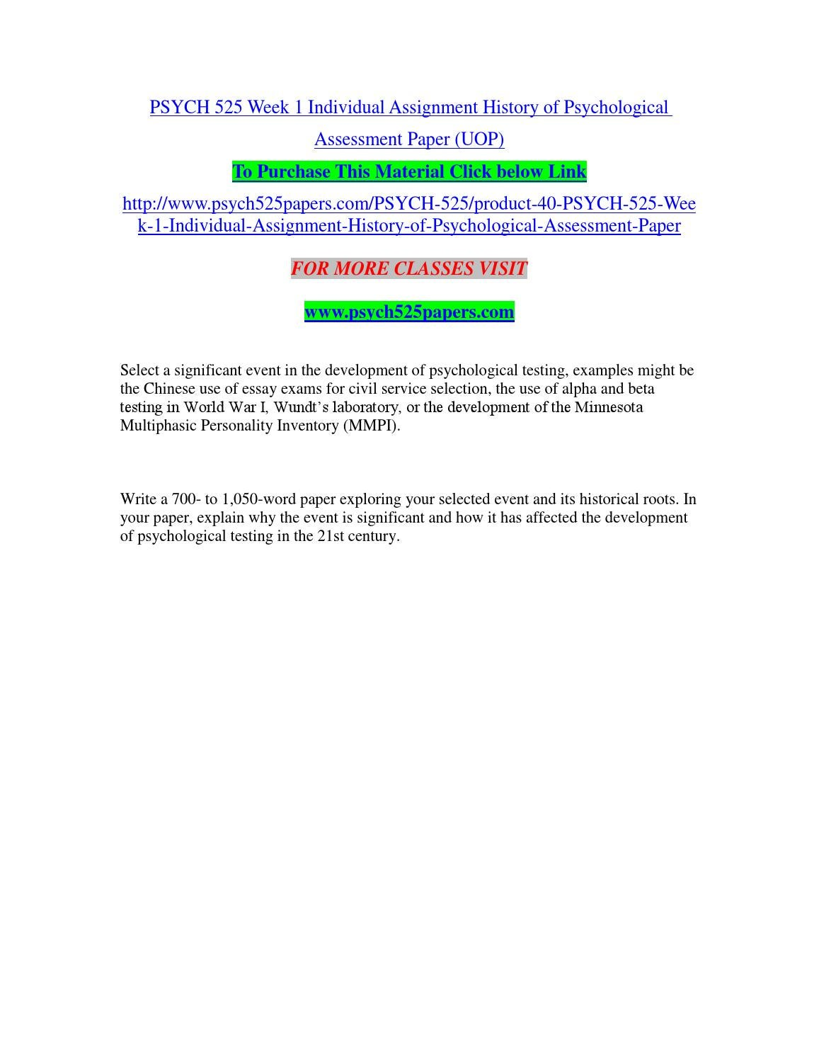 Psych 525 week 1 individual assignment history of psychological assessment  paper (uop) by sandwijain110 - issuu