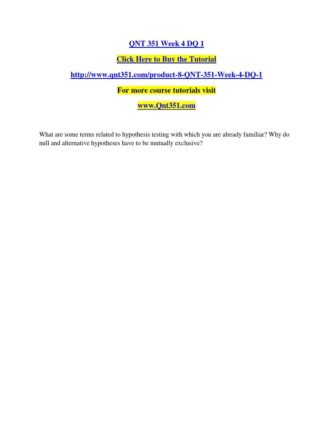 Qnt 351 one population hypothesis test