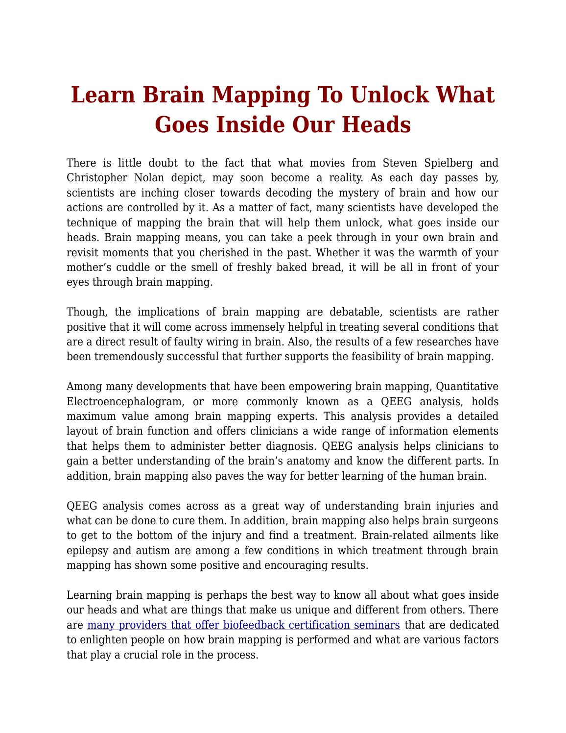 Learn Brain Mapping To Unlock What Goes Inside Our Heads By Lucy