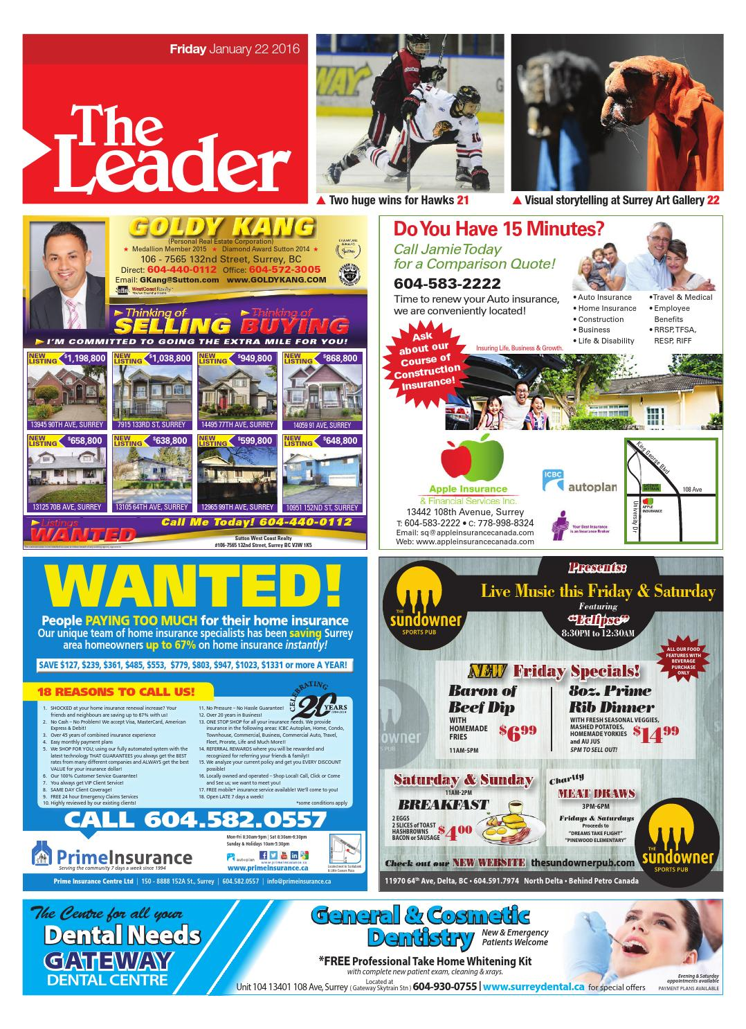 Surrey North Delta Leader, January 22, 2016 by Black Press
