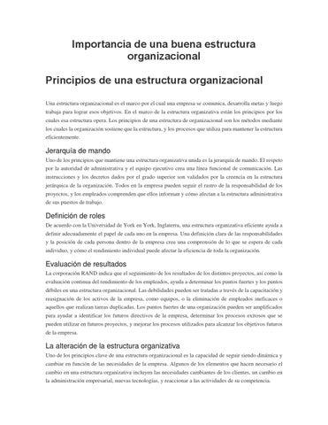 Importancia De Una Buena Estructura Organizacional By