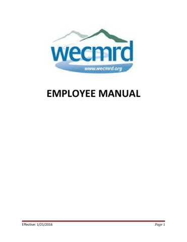 Employee Handbook Updated January  By Western Eagle County