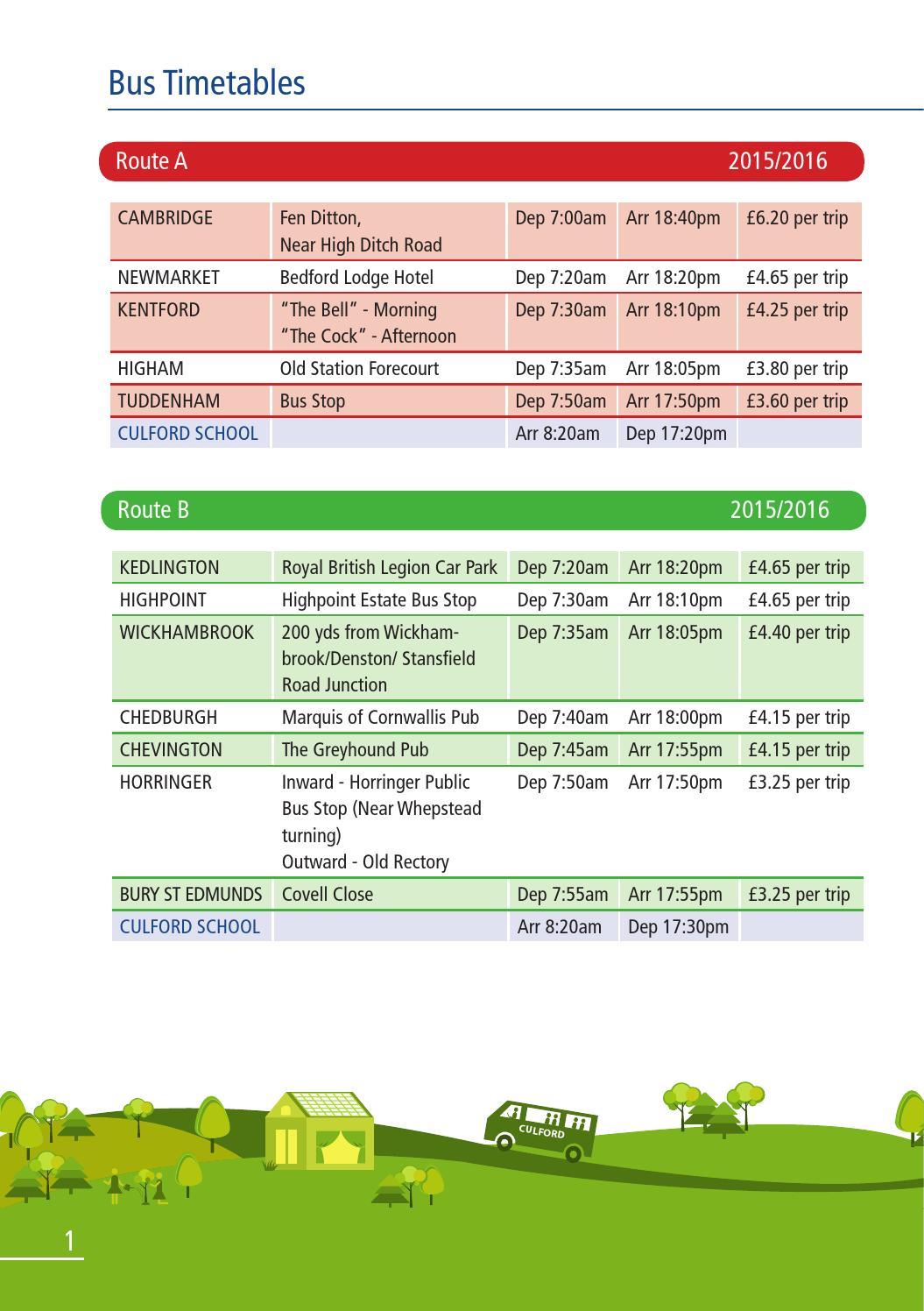 Culford Bus Timetable 2015 16 By Culford School Issuu