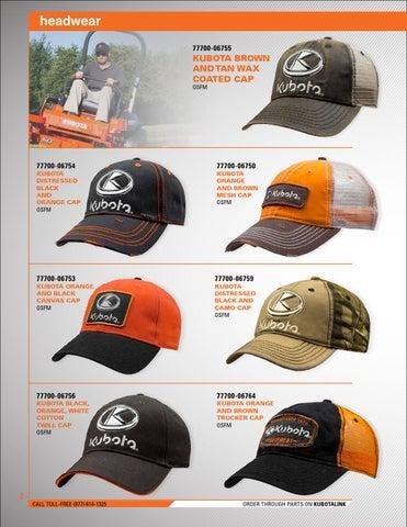d94c9fb8bef Page 2. headwear 77700-06755. KUBOTA BROWN AND TAN WAX COATED CAP OSFM