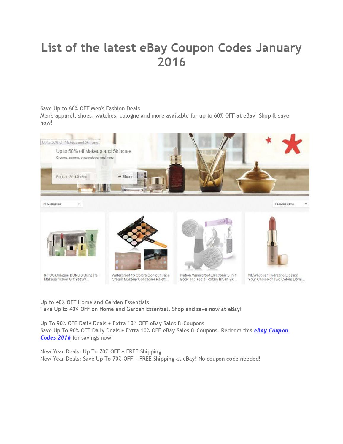 List Of The Latest Ebay Coupon Codes January 2016 By Emma Wat Son Issuu