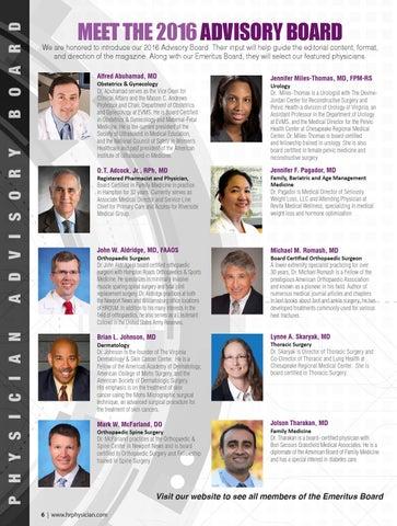 Hampton Roads Physician Winter 2016 By Hampton Roads Physician