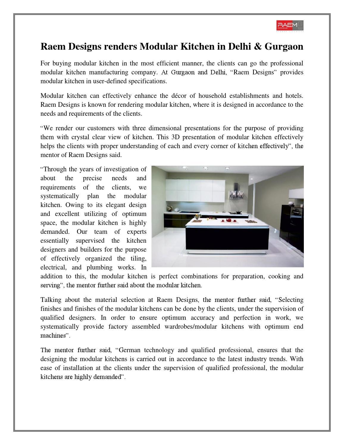 Raem designs renders modular kitchen in delhi & gurgaon by ...