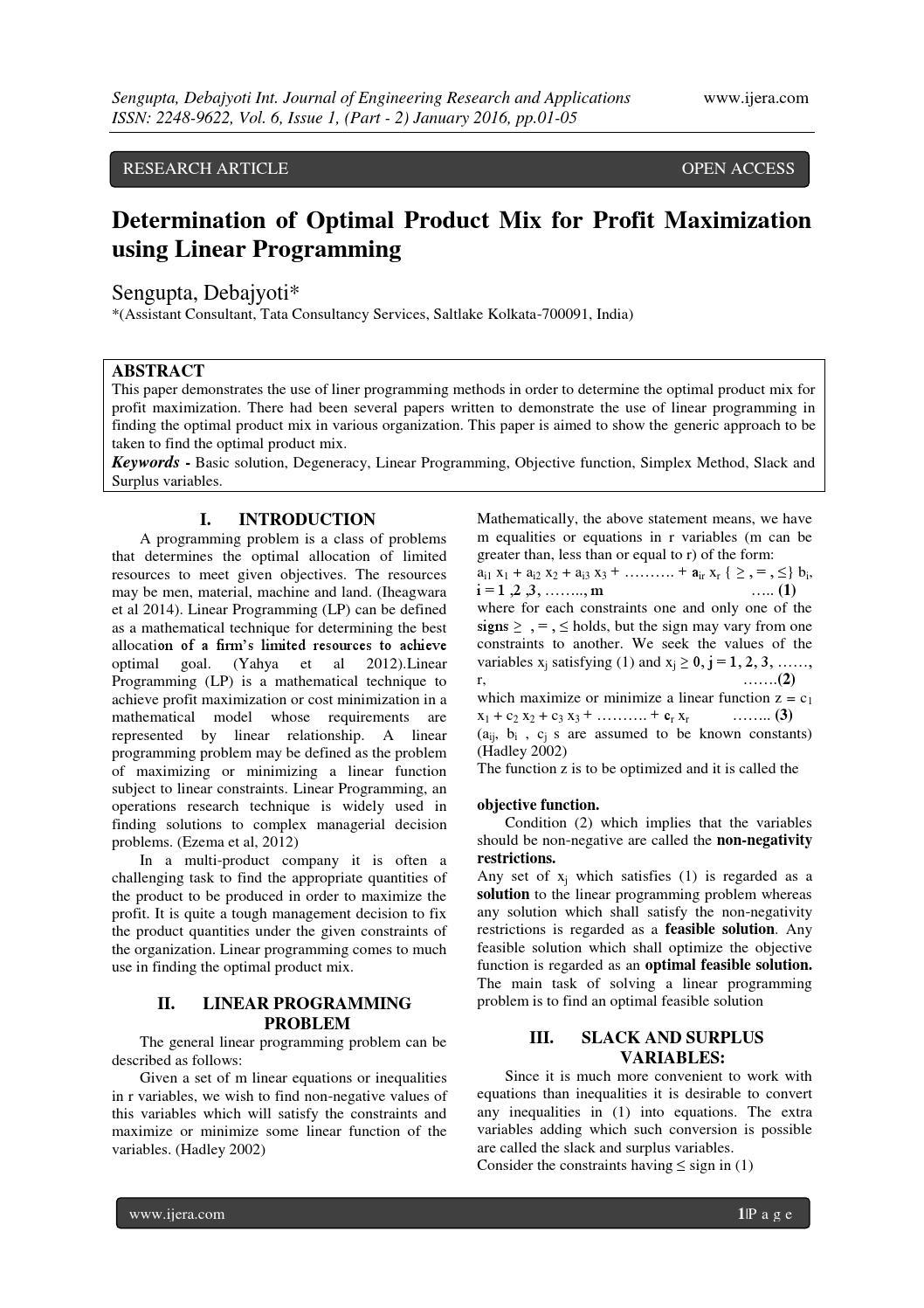 Determination of Optimal Product Mix for Profit Maximization