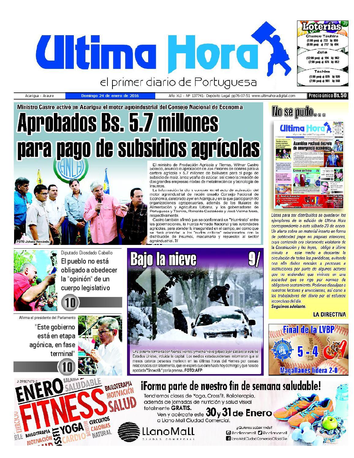 Edicion24 01 16 by Ultima Hora - El primer diario de Portuguesa - issuu