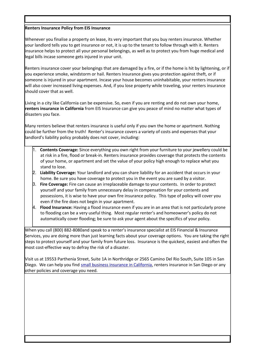 Home Renters Insurance >> Renters Insurance Policy From Eis Insurance By Eis Insurance