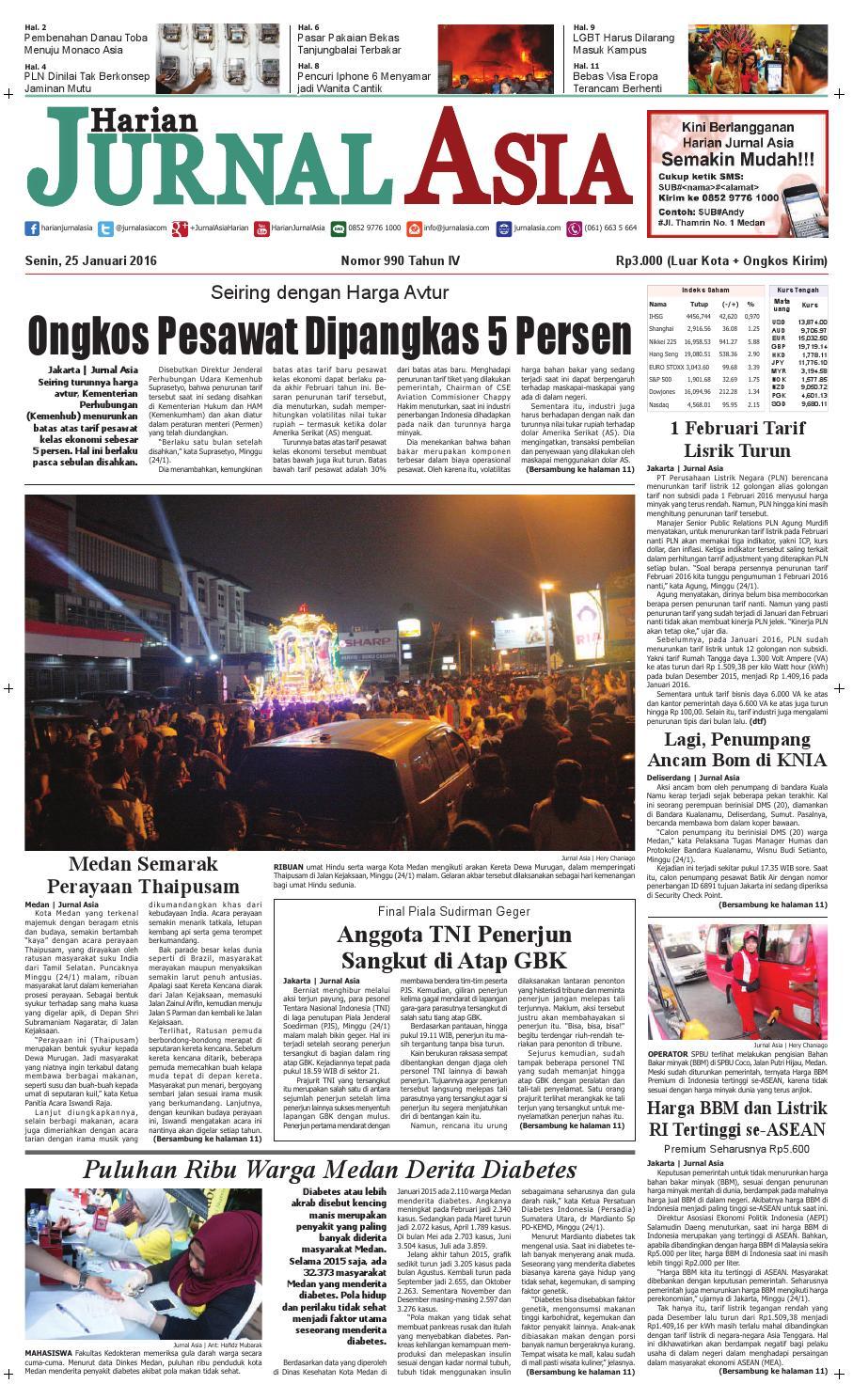 Harian Jurnal Asia Edisi Senin 25 Januari 2016 By Produk Ukm Bumn Segi Empat Leopard Medan Issuu