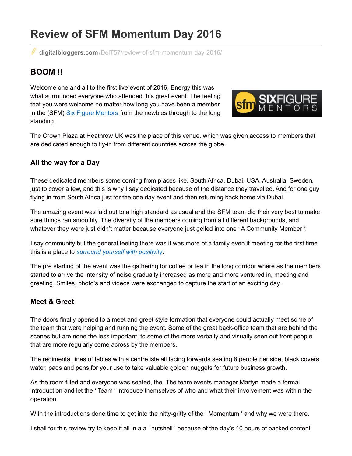 Digitalbloggers Com Review Of Sfm Momentum Day 2016 By Derek Tovee