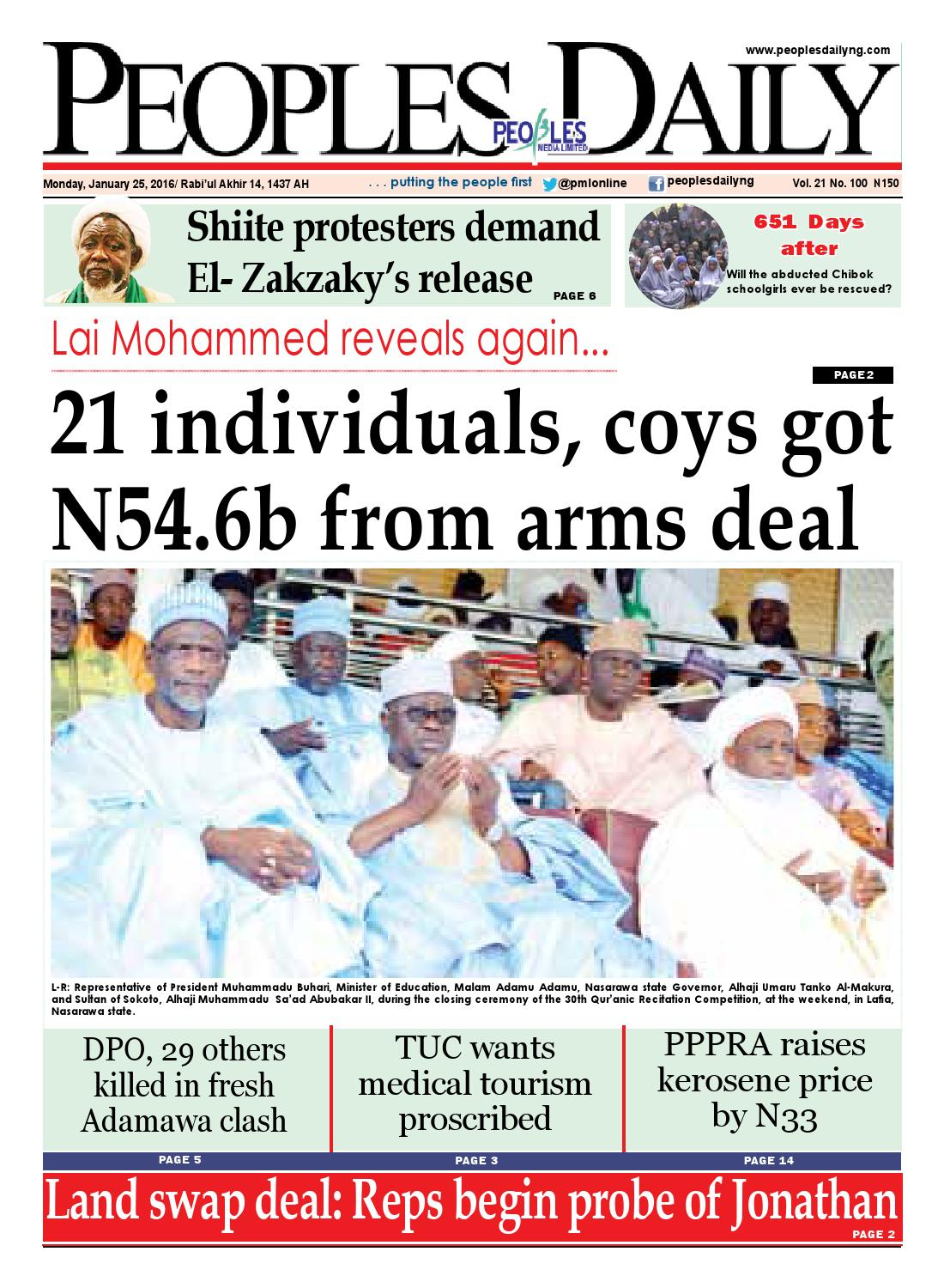Monday, January 25th, 2015 Edition by Peoples Media Limited