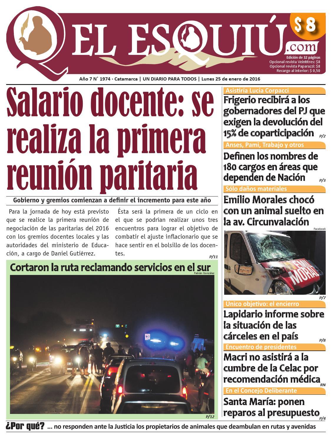 El Esquiu Com Lunes 25 De Enero De 2016 By Editorial El Esqui  # Muebles Tamara Fox Rancagua