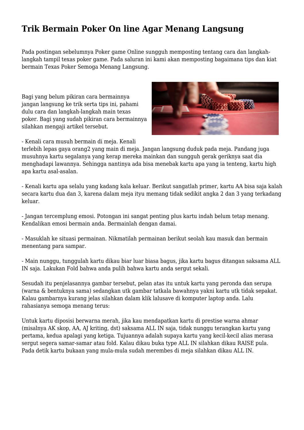 Trik Main Poker Biar Menang Vbxp Poraveuropu Ru