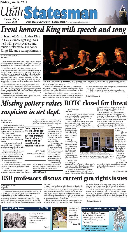 The Utah Statesman, January 14, 2011 by USU Digital Commons