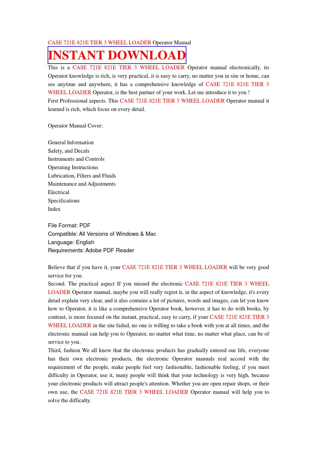 Case 721e 821e tier 3 wheel loader operator manual by