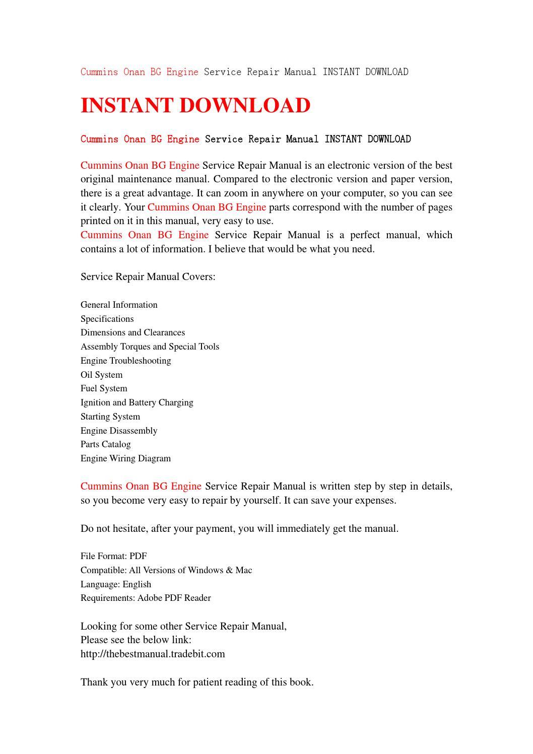 Cummins onan bg engine service repair manual instant download by jhsefjn7 -  issuu