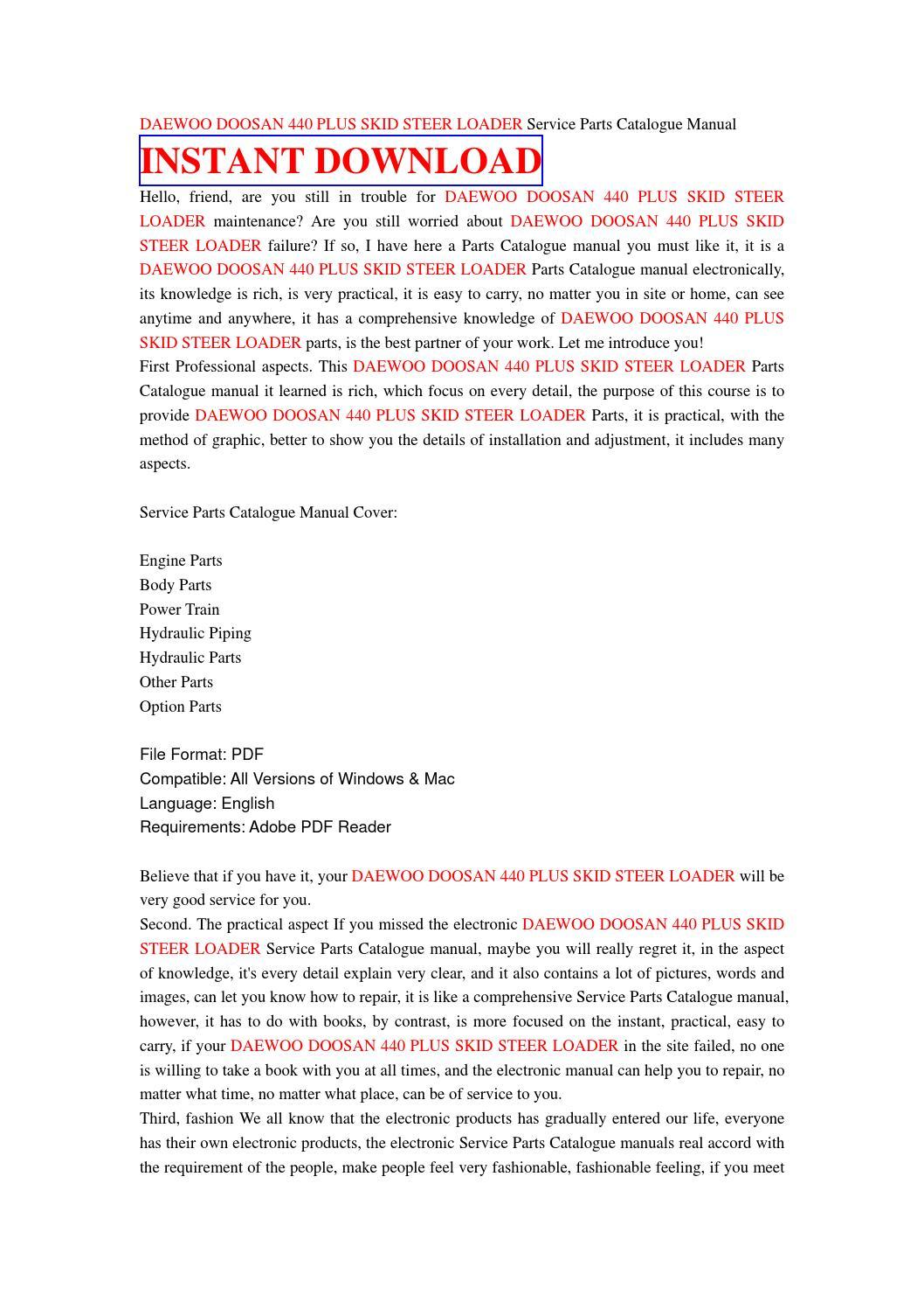 Daewoo doosan 440 plus skid steer loader service parts catalogue manual by  jhsefjn7 - issuu