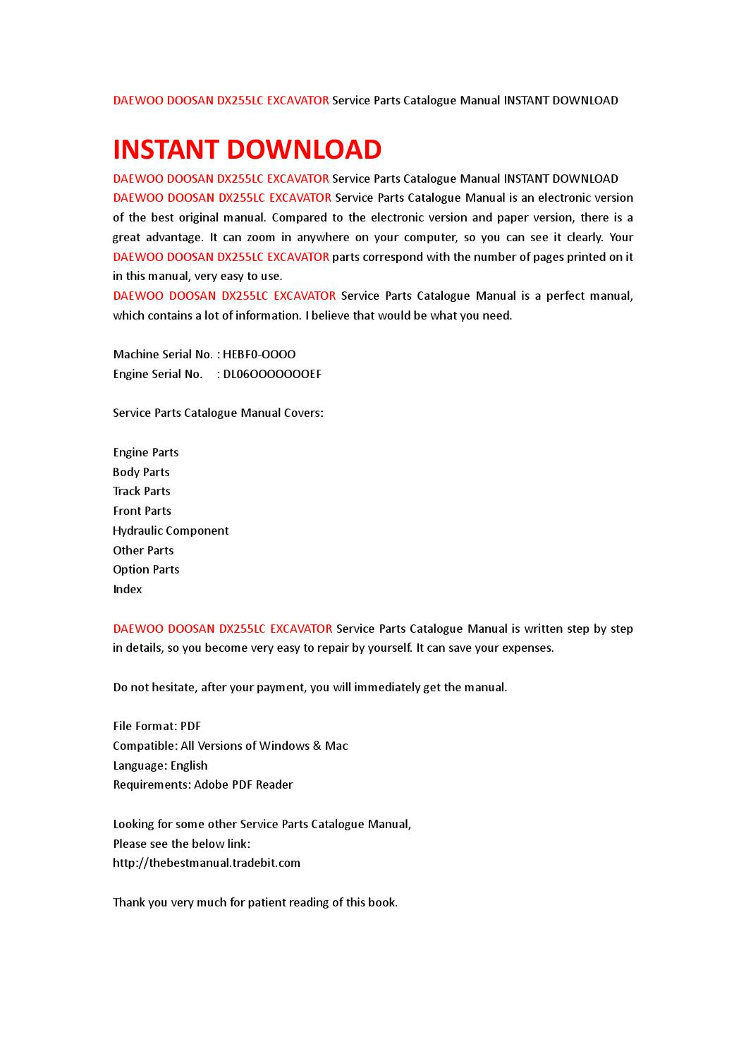Daewoo doosan dx255lc excavator service parts catalogue manual instant  download by jhsefjn7 - issuu