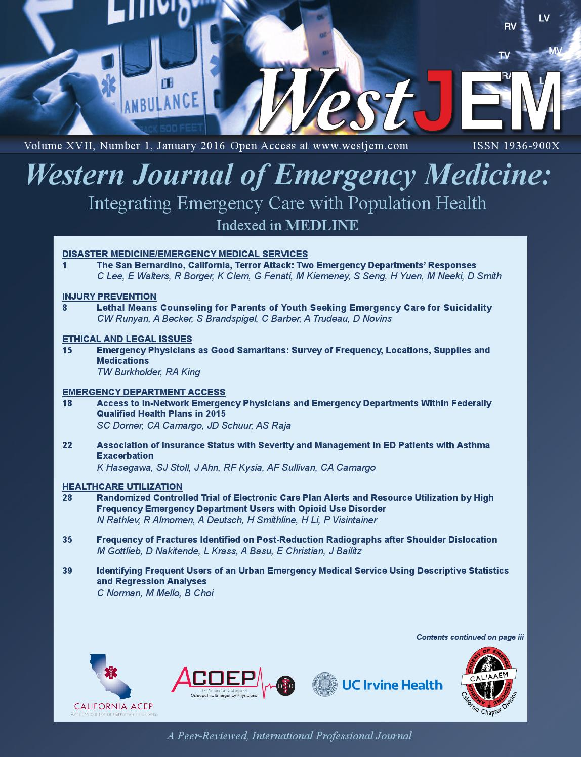 Volume 17 Issue 1 by Western Journal of Emergency Medicine - issuu