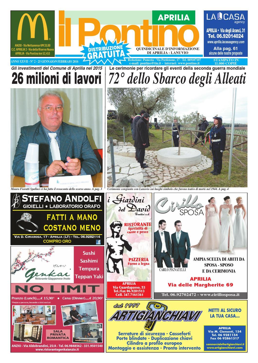 Il Pontino Aprilia - Anno XXVII - N. 2 - 25 Gennaio 9 Febbraio 2016 by Il  Pontino Il Litorale - issuu af4689b62acf