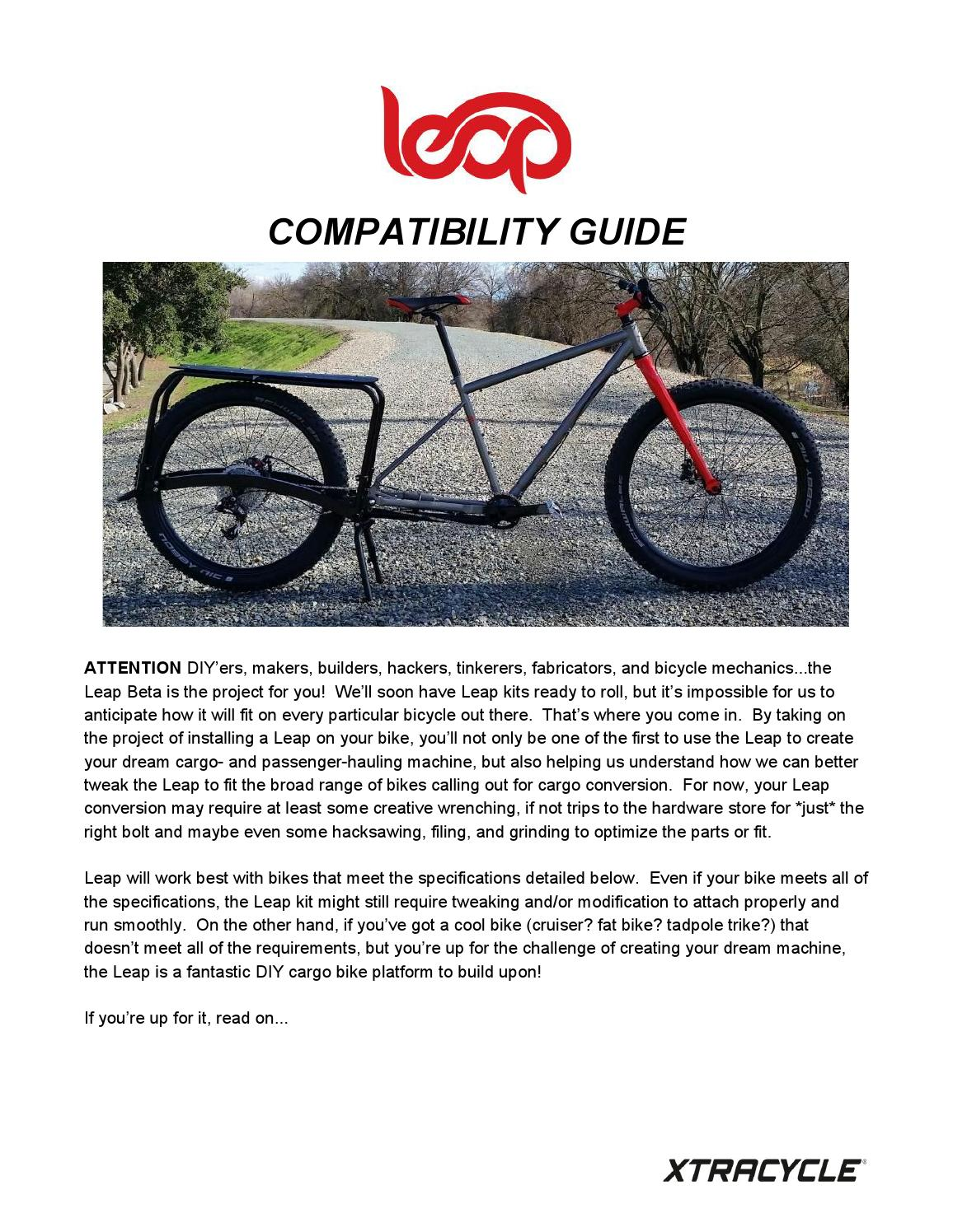 Xtracycle Leap Compatability Guide by Practical Cycles - Issuu