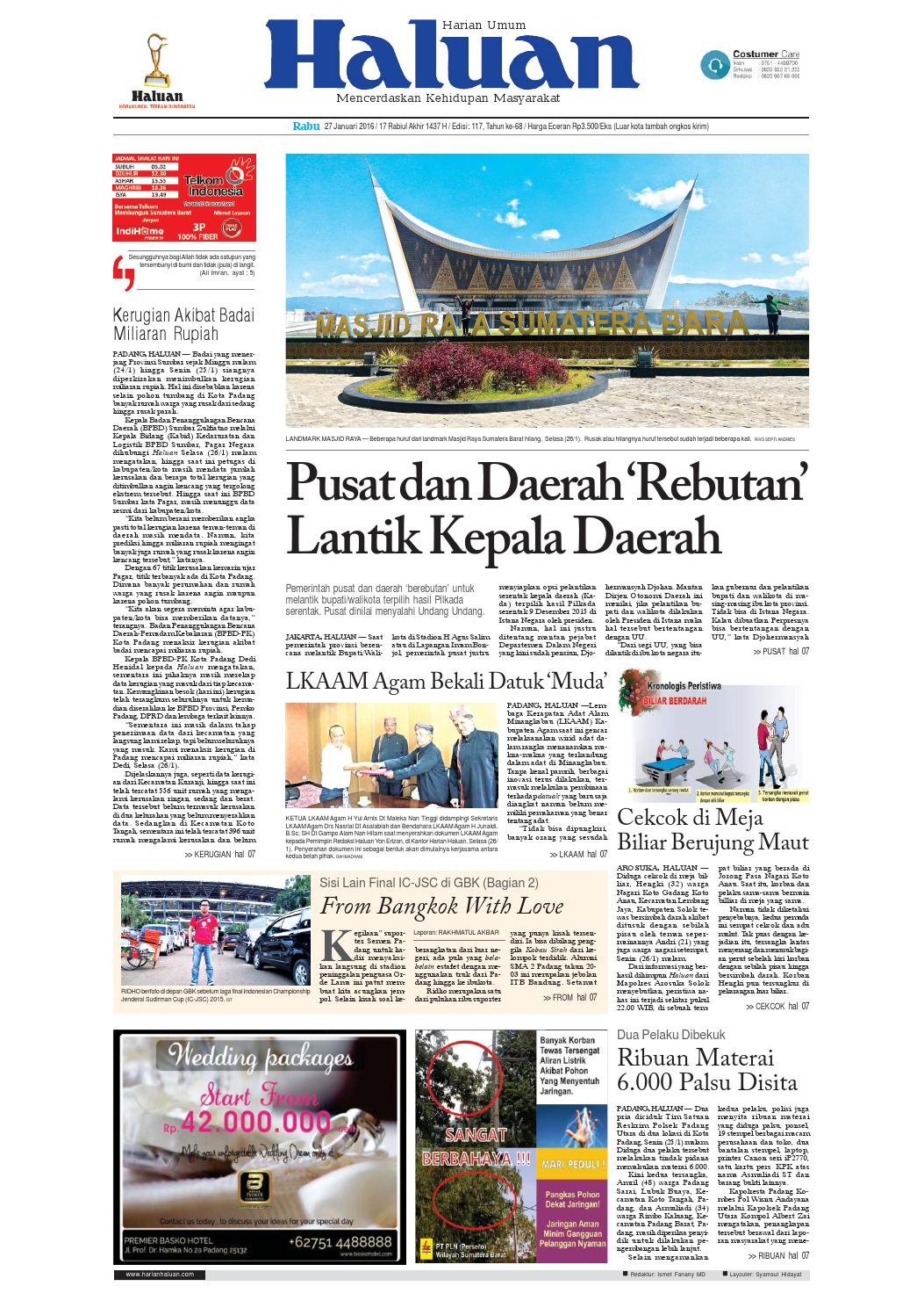 Haluan 27 Januari 2016 By Harian Issuu Paket Firia