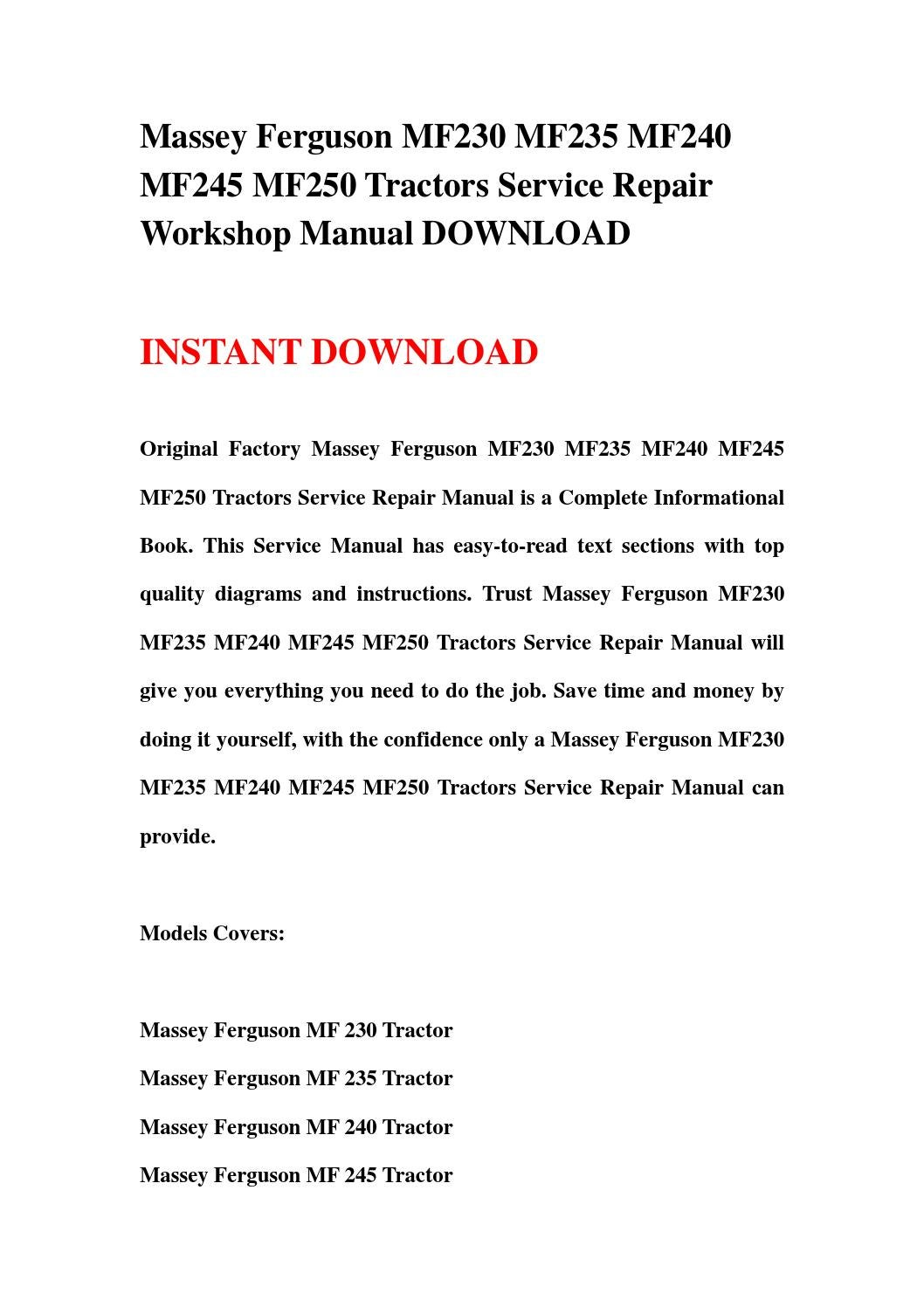 massey ferguson 230 manual pdf